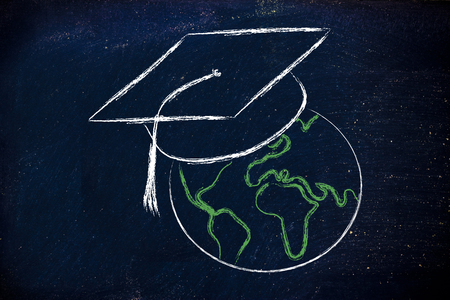 high end: world globe with graduation cap, metaphor of global e-learning Stock Photo