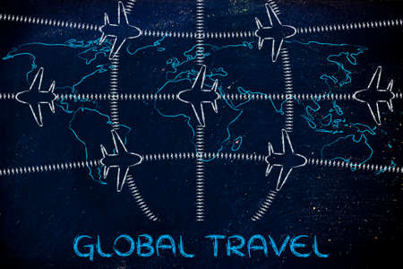 Air Traffic And Plane Trail Over World Map Booking Holidays Stock - Us-air-traffic-map