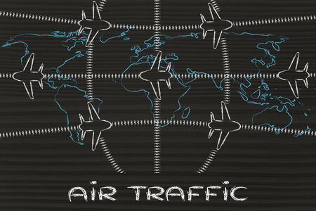 air traffic: air traffic and plane trail over world map, booking holidays & the travel industry