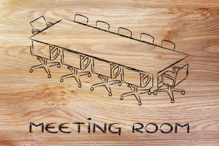 illustration of table and chairs from an office meeting room (or board room)