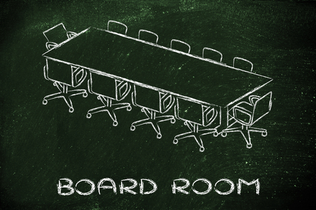board room: illustration of table and chairs from an office meeting room (or board room)
