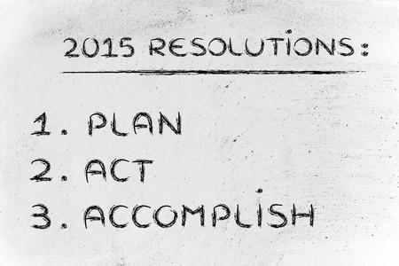 résolutions d'affaires et les objectifs pour la nouvelle année 2015