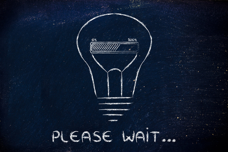 wait: Please wait, progress bar inside a lightbulb: concept of idea loading or developing an innovation