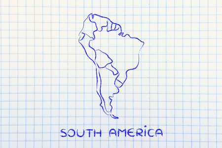 south america: illustration with map of the borders within South America