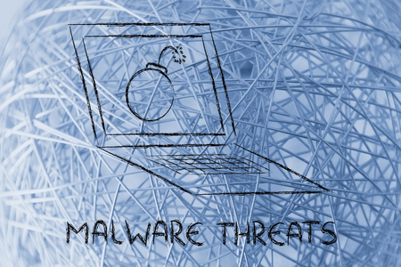 conceptual design about virus and malware threats Stockfoto