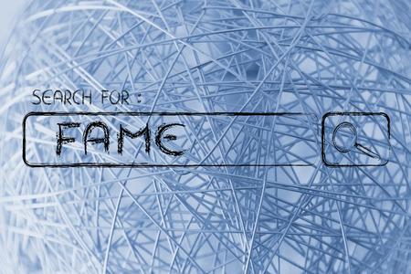 fame: seeking fame, design of internet search bar on unusual surface