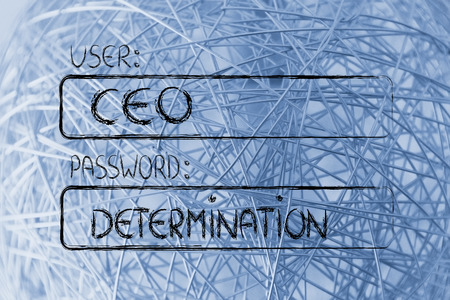 log out: user and password: concept of how a CEO needs determination Stock Photo