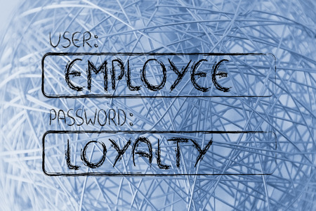 prove: user and password: concept of how an employee needs to prove loyalty Stock Photo