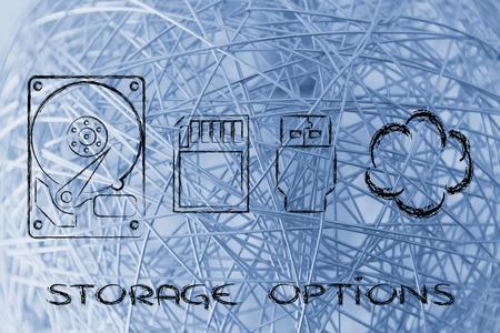 card file: file storage solutions: hard disks, sd card, usb key or cloud storage
