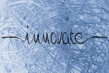 innovate, minimalistic handwriting calligraphy Stock Photo