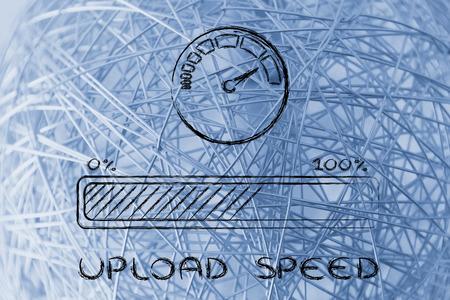 adsl: upload transfer speed: speedometer and progress bar