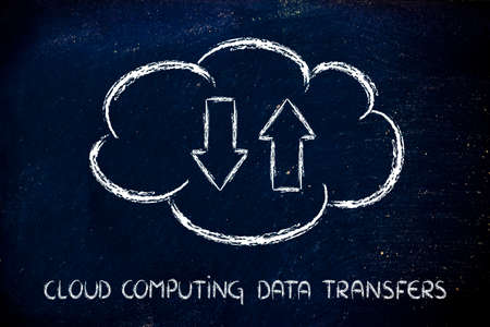 downloads: funny representation of cloud computing and data uploads and downloads Stock Photo