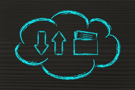 downloads: cloud computing and data uploads and downloads, funny design with arrows and document folder