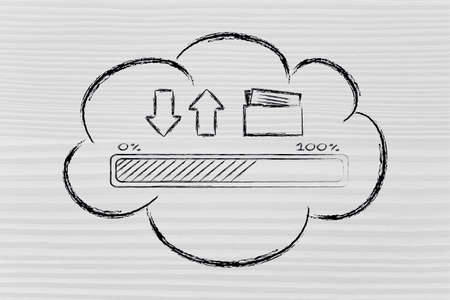 downloads: cloud computing and data uploads and downloads: progress bar and arrows with doc folder Stock Photo