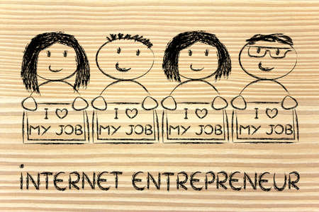 men and women entrepreneurs with signs that say I love my Job photo