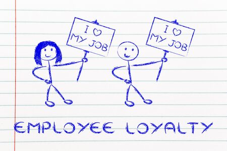 employee satisfaction: illustration with men and women holding signs that say I love my Job Stock Photo