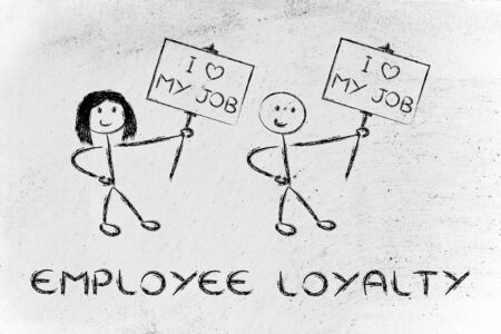 illustration with men and women holding signs that say I love my Job illustration