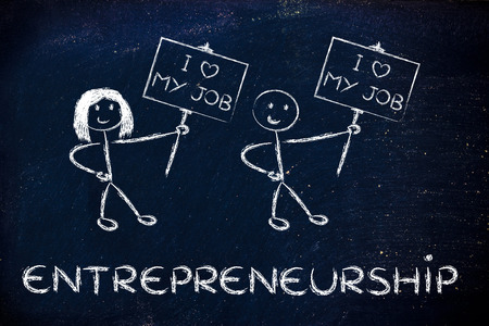 tehnology: men and women entrepreneurs with signs that say I love my Job