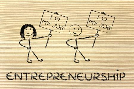 兆候と言う私は私の仕事を愛していると男性と女性の起業家 写真素材