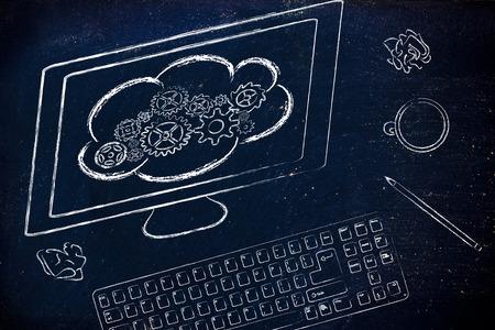 traslados: pantalla del ordenador con las transferencias de computaci�n en nube, la nube con ruedas dentadas met�fora