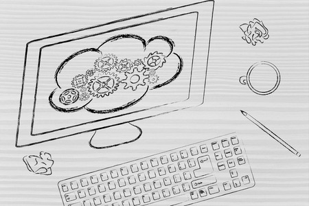 transfers: computer screen with cloud computing transfers, cloud with gearwheels metaphor Stock Photo