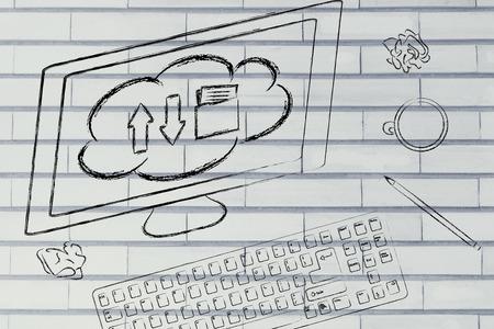 traslados: pantalla del ordenador con las transferencias de cloud computing Foto de archivo