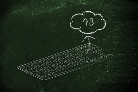 qwerty: computer keyboard (qwerty) with Enter key transferring to cloud storage