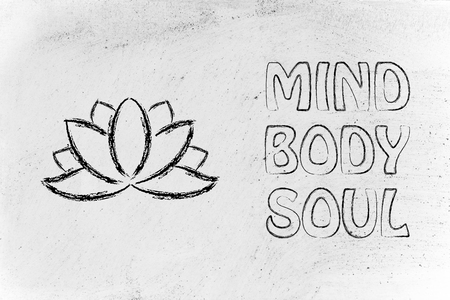 mind body: mind body and soul design inspired by yoga, with lotus flower