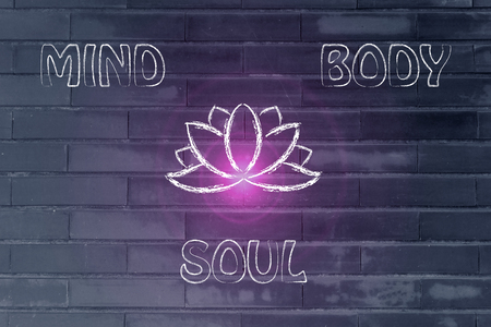 sculpt: mind body and soul design inspired by yoga, with lotus flower and flare Stock Photo