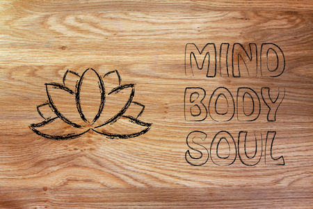 health spa: mind body and soul design inspired by yoga, with lotus flower
