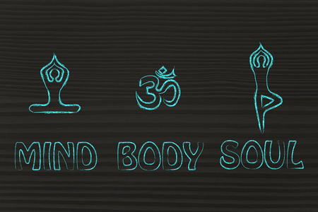 asanas: mind body and soul design inspired by yoga, with asanas (yoga poses) and OM symbol Stock Photo