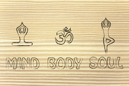 mind body: mind body and soul design inspired by yoga, with asanas (yoga poses) and OM symbol Stock Photo