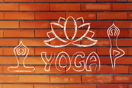 asanas: mind body and soul design inspired by yoga, with asanas (yoga poses) and lotus Stock Photo