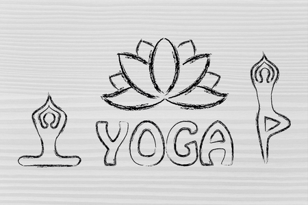 mind body: mind body and soul design inspired by yoga, with asanas (yoga poses) and lotus Stock Photo
