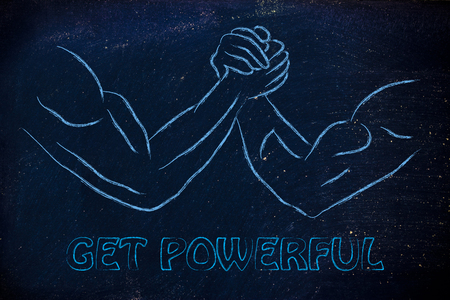 self exam: fitness and strength training: arm wrestling challenge illustration, get powerful Stock Photo