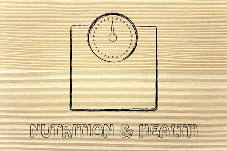 ideal: weight loss and reaching the ideal weight, scale illustration