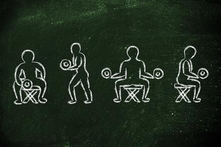 levantando pesas: aptitud estilo de vida: el levantamiento de pesas del car�cter del hombre