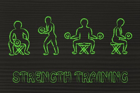 levantando pesas: fitness lifestyle: man character lifting weights