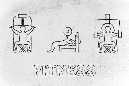 lean machine: fitness lifestyle: man character lifting weights using gym machines