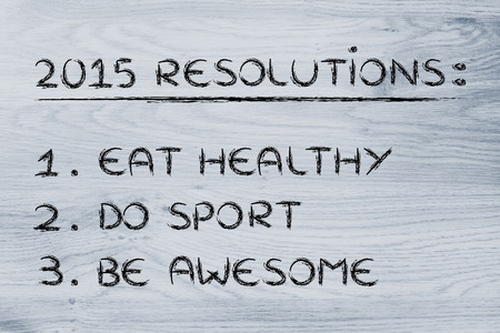 keeping fit: fitness lifestyle: list of new years resolutions about eating healthy and keeping fit Stock Photo