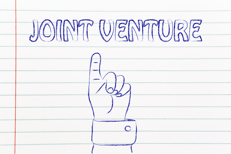 venture: hand pointing up at the concept of Joint Venture