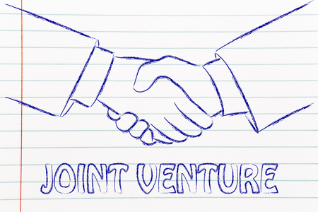 venture: business partners shaking hands: creating a joint venture