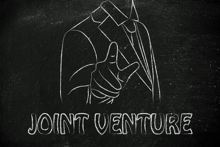 venture: Create a join venture, business man illustration