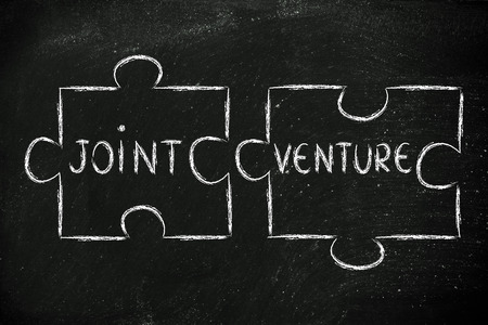 venture: the words Joint Venture written on 2 matching pieces of a jigsaw puzzle Stock Photo