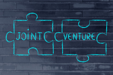 the words Joint Venture written on 2 matching pieces of a jigsaw puzzle Stock Photo