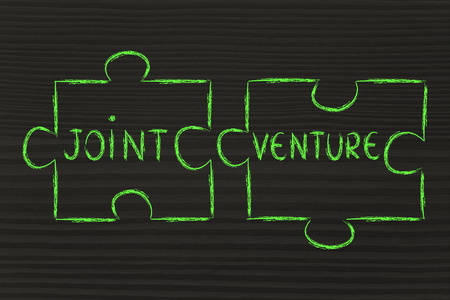 joint venture: the words Joint Venture written on 2 matching pieces of a jigsaw puzzle Stock Photo