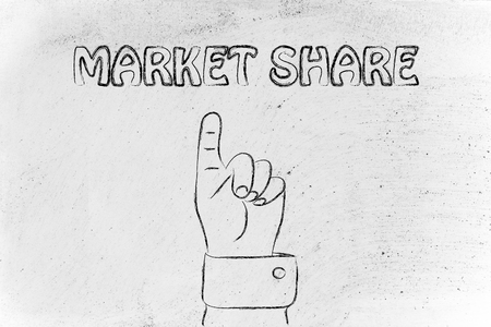 market share: hand pointing up at the concept of market share Stock Photo