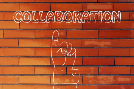 reach customers: hand pointing up at the concept of Collaboration