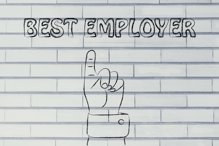 employer: hand pointing up at the concept of Best Employer
