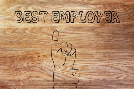 reach customers: hand pointing up at the concept of Best Employer